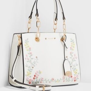 Aldo white floral satchel discontinued